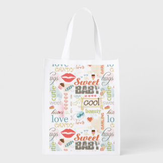 Sweet Baby Text Design Your Color  ID237 Grocery Bag