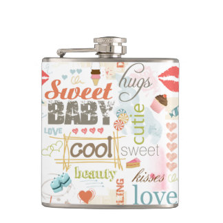 Sweet Baby Text Design Your Color  ID237 Hip Flask