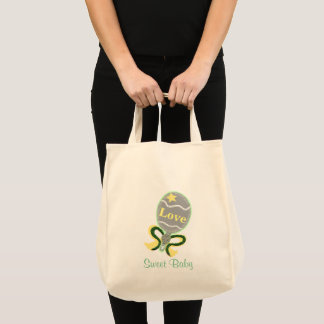 Sweet Baby Yellow Green Baby Rattle Tote Bag