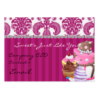 Sweet Bakery Damask Design  Business Card diamonds