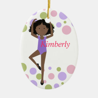 Sweet Ballerina Purple and Pink Ceramic Ornament