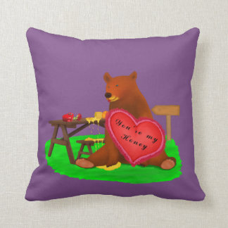 Sweet Bear for Valentine Throw Pillow