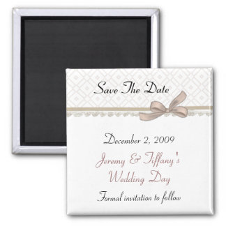 Sweet Beige Bow Save the Date Magnet