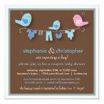 "Sweet Bird Boy Couple Baby Shower Invitation 5.25"" Square Invitation Card"