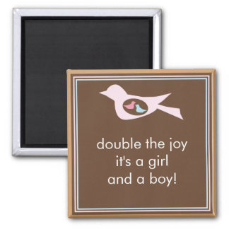 Sweet Bird Mommy with Twin Girl and Boy Magnet