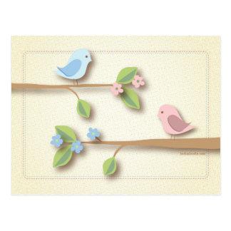 Sweet Birdie Baby Shower Words of Advice Card Postcard