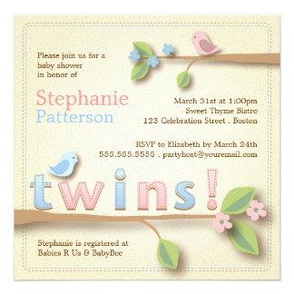 Sweet Birdie Twin Boy Girl Baby Shower Invitation