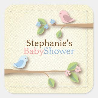Sweet Birdie Twin Boy Girl Baby Shower Sticker