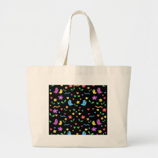 Sweet birds and flowers pattern large tote bag