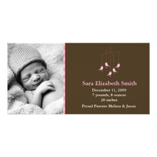 Sweet Birds Baby Mobile Birth Announcements Photo Cards