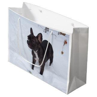 Sweet Black French Bulldog Likes Snow Large Gift Bag