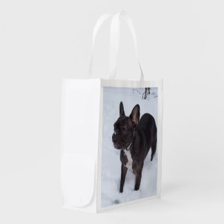 Sweet Black French Bulldog Likes Snow Reusable Grocery Bag