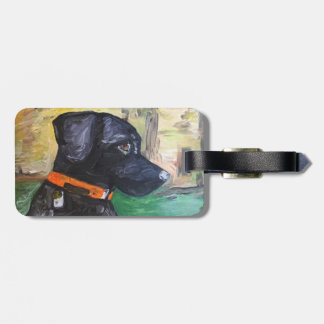 Sweet Black Lab luggage Tag by Willowcatdesigns
