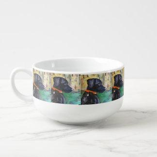 Sweet Black Lab Soup Mug by Willowcatdesigns