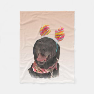 Sweet Black Labrador Retriever Dog Fleece Blanket