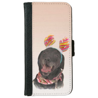 Sweet Black Labrador Retriever Dog iPhone 6 Wallet Case