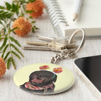 Sweet Black Labrador Retriever Dog Keychain