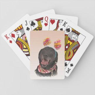 Sweet Black Labrador Retriever Dog Playing Cards