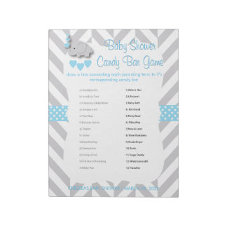 Sweet Blue and Gray Elephant Baby Shower - Game Notepad