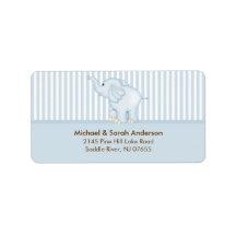 Sweet Blue Baby Elephant Address Label