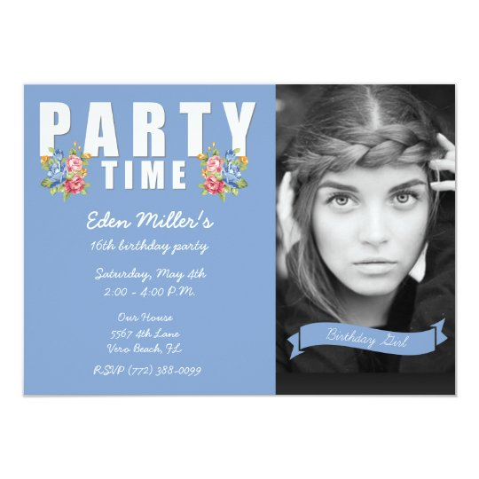 Sweet Blue Floral Girl's 16th Photo Birthday Party Card