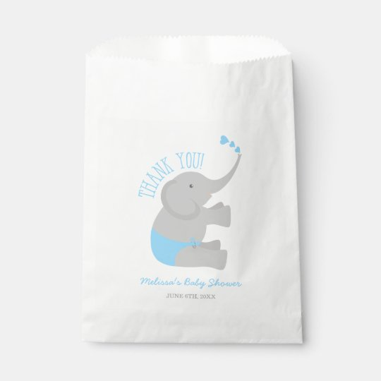 Sweet Blue Grey Elephant Baby Shower Favour Bag