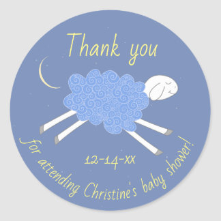Sweet Blue Lullaby Baby Shower Favor Sticker