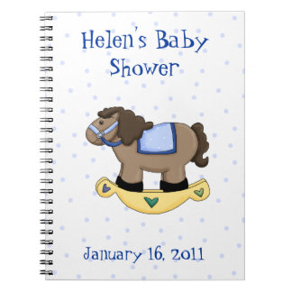 Sweet Blue Rocking Horse Baby Shower Notebook