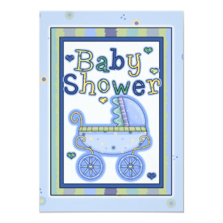 Sweet Blue Stroller Baby Boy Shower Invitation