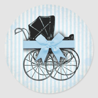 Sweet Blue Vintage Baby Carriage Pram and Bow Round Sticker