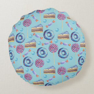 Sweet Blueberry Treats Pattern Round Pillow