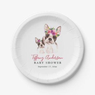 Sweet Boston Mom And Baby Floral Baby Shower Plate