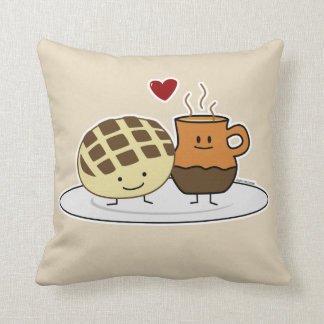 Sweet Bread and Hot Chocolate Pan caliente Mexican Throw Pillow