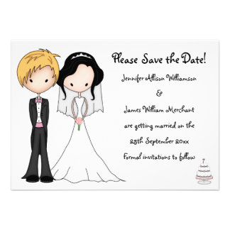 Sweet Bride and Groom Cartoon Save the Date Personalized Invitation