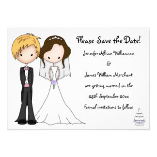 Sweet Bride and Groom Cartoon Save the Date Custom Announcement