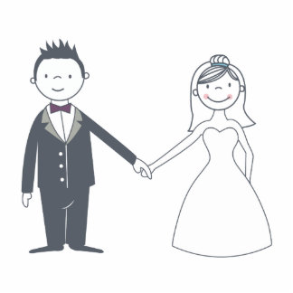 Sweet Bride & Groom Cake Topper Standing Photo Sculpture