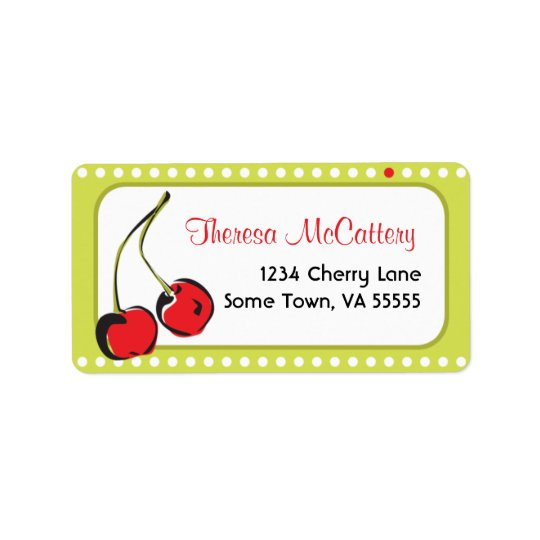 Sweet Bright Red Cherry Address Label