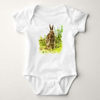 Sweet Brown Bunny Rabbit in Grass Baby Bodysuit