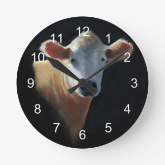 Sweet Brown Cow:  Original Oil Pastel Art Round Clock