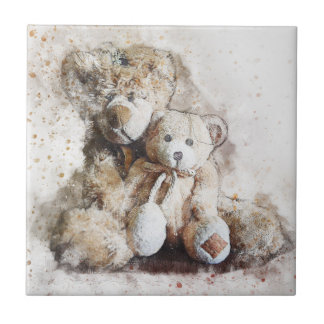 Sweet Brown Teddy Bear Decorative Ceramic Tile