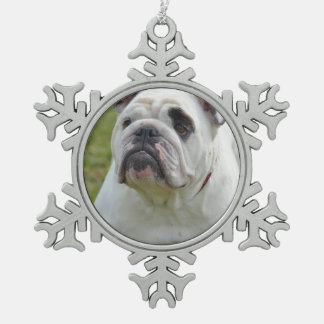 Sweet Bulldog Snowflake Pewter Christmas Ornament