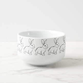 Sweet Bunny Cartoon Adorable Rabbit Soup Bowl With Handle