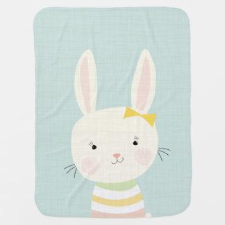 Sweet Bunny Girl Portrait Pastel Blanket Receiving Blankets