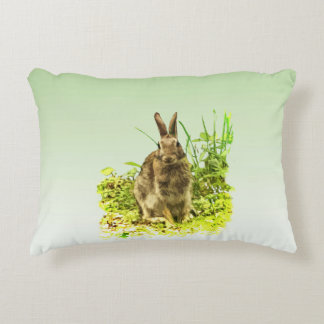 Sweet Bunny Rabbit in Grass Accent Pillow
