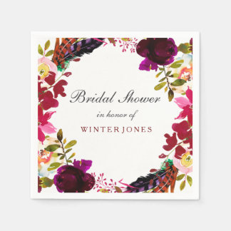 Sweet Burgundy Purple Floral Wreath Bridal Shower Paper Napkin