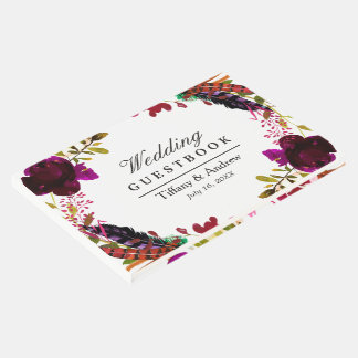 Sweet Burgundy Purple Floral Wreath Wedding Guest Book