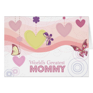 Sweet butterfly hearts world's greatest mommy card