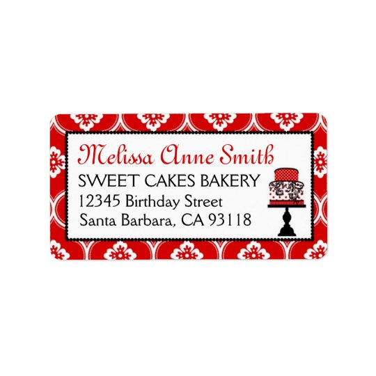 Sweet Cake Address Label Red