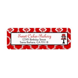 Sweet Cake Return Label Red