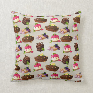 Sweet Cakes Dessert Pattern Throw Pillow